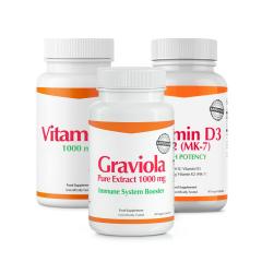 Graviola + Vitamin D3 & K2 (MK7) + Vitamin C